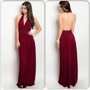 Halter Maxi Dress Burgundy